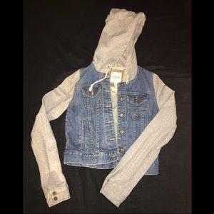 Denim jacket with fleece sleeves